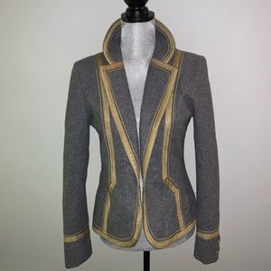 Grey blazer with gold trim